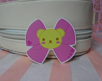 "Kawaii Pink Vinyl Sticker Teddy Bear Bow 5cmx4.5cm 2"" Lolita Stationary Cute Sticker Planner Stickers"