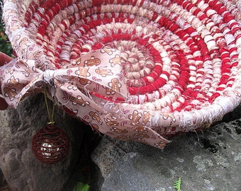 GINGERBREAD MOCHA  Textile  art BaSKeT  BoWL with  beLL