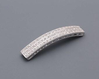 0001-Bridal CZ bracelet, CZ Pendant, Rhodium plated over Brass, Cubic zirconia jewelry finding,Tarnish Resistant - 1 piece