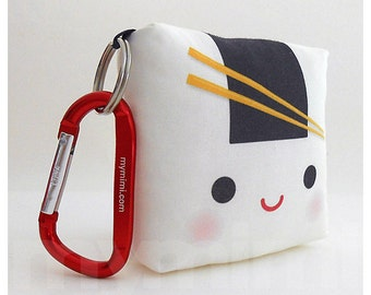 Toy Keychain, Sushi Toy Pillow, Kawaii Toy, Backpack Charm, Kids Toys, Party Favor, Stocking Stuffer, Holiday Gift
