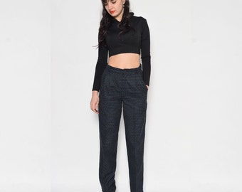 Vintage 80's High Waisted Wool Pants / Tapered Leg Wool Pants
