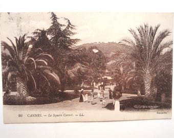 1910/20s - Postcard - France-Cannes - square Carnot-azure-Palm trees-french riviera coast - print