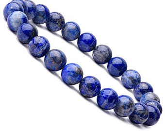 "Unisex Lapis Lazuli Gemstone Stretch Bracelet 7""- 7.5"" Available in 8 & 10 mm Round Beads-Suitable For Men  and Women"