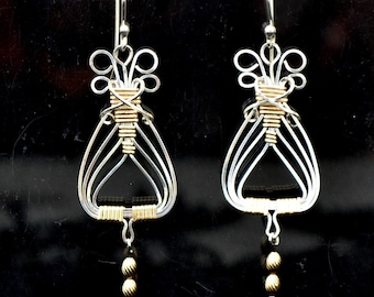 two tone Egyptian earrings in Sterling Silver and 14K gold filled.