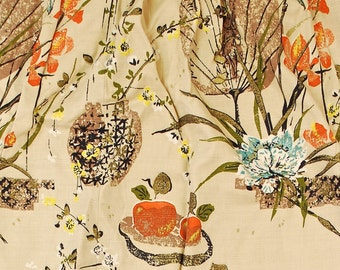 """Vintage 1940's/50's Set (2) of Barkcloth Curtains / Top 40"""" Bottom 66"""" x 56"""" / Oriental Floral / Bark Cloth Fabric / Retro Collectable Rare"""