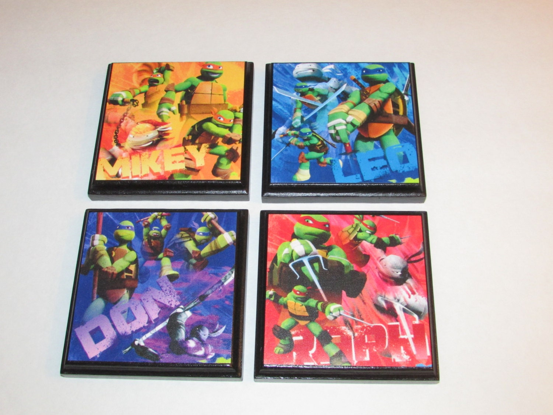 Teenage Mutant Ninja Turtle Set Room Wall Plaques Set Of - Ninja turtle wall decals
