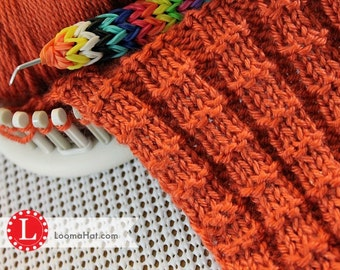Loom Knitting Stitch PATTERN with Video Tutorial: The Interrupted Rib Stitch