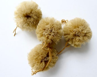 Set of 4 tassels Jacky Family (including provided) And gold tulle