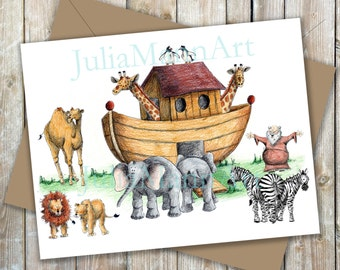 Noah's Ark Printable Thank You Card,  Instant Download, Noah's Ark Notecard,  Folded Printable Notecard, Children's Stationery