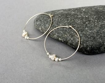 Sterling Silver Hoops Beaded Hoop Earrings Everyday Silver Earrings Sterling Silver Hoop Earrings Small Silver Hoop Earrings Silver Earrings