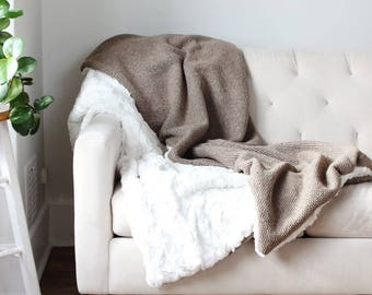 Oatmeal Wool Throw | Sand and Cream Blanket | Ivory Bed Throw | Ivory Wool Sofa Blanket | Warm + Soft Throw {Wool & Ivory Faux Fur Throw}