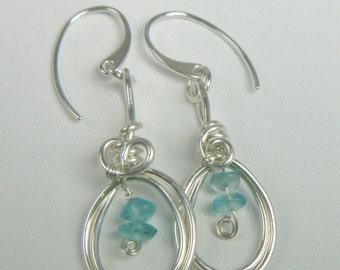 Apaptite Gemstone Dangle Earrings, Argentium Sterling Silver