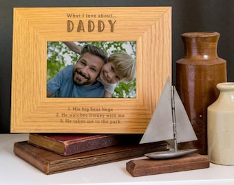 Daddy Personalized Photo Frame 'What I Love About Dad..' Personalised Photo Frame for Father's Day