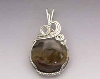 Black Rock Desert Thunderegg Agate Sterling Silver Wire Wrapped Pendant - Ready to Ship!