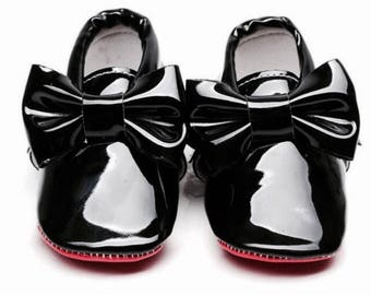 Louboutin patent moccasin baby shoe first steps shoes red sole