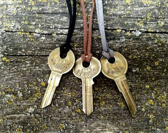 Custom vintage key necklace-key necklace pendant-personalized jewelry-gift for him-gift for her-word necklace-custom necklace-brass key