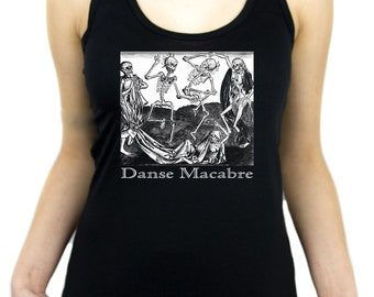 The Dance Of Death Danse Macabre Racer Back Tank Top Shirt Skeletons - WRB-2014017
