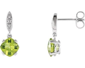 14K White Gold Peridot & .04 CTW Diamond Earrings Augugust Birthstone Birthday Gift