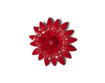 Cherry Red Enamel Flower Brooch, 1960s Mod Flower Pin, Flower Power Brooch, Costume Jewelry