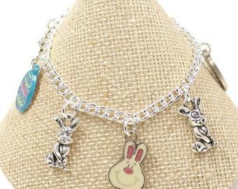 Girls Rabbit Bracelet Girls Easter Bracelet Girls Easter Gift Easter Egg Charm Girls Jewelry Girls Easter Bracelet Easter Egg Jewelry G29