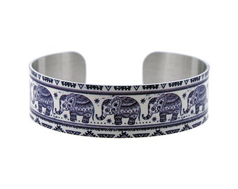 Elephant jewellery cuff bracelet, metal bangle with blue elephants. Animal elephant gifts, secret message jewelry gifts for her. B172