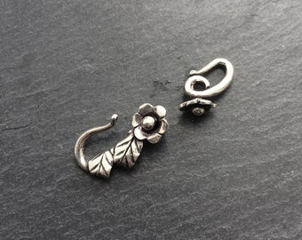 Silver Flower Clasp, Flower Hook Clasp, Flower Clasp, Flower Hook, Beading Supplies, Jewelrymaking Supply