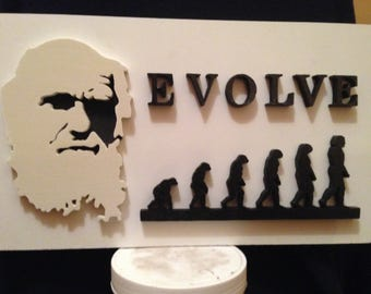Theory of the evolution of Charles Darwin in wood with the scroll saw
