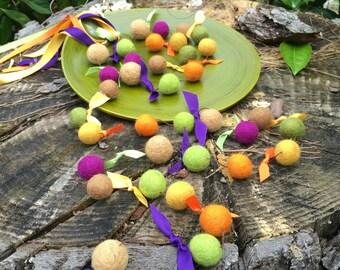 Felt Ball Garland - Fall - Purple - Orange - Green Apple - Brown - Mustard - Thanksgiving Garland - Autumn - Pom Pom Garland  7 Ft.