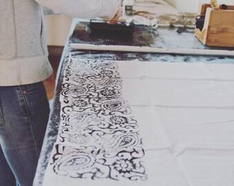 Hand stamped flour sack tea towels.  DESIGN No.4
