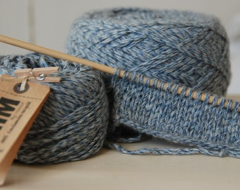 Heather yarn 100% cashmere blue jeans