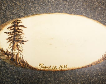 Redwood Giant Sequoia Design: Wood Oval Guest Book.