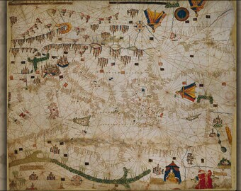 Poster, Many Sizes Available; Chart Map Of Mediterranean Sea 15Th Century