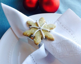Snowflake Sugar Cookie Napkin Rings, Winter or Christmas Table Decoration, Snow & Ice, Faux Pastry, Hostess Gift, Wedding Favors