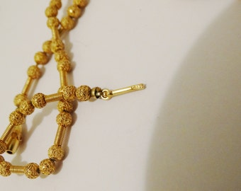 """Vintage 14k Yellow Gold Marked Beautiful 14"""" Inch RARE Filigree Beaded Necklace."""