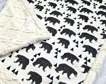 Bear Baby Blanket - Geometric Bear Designer Minky - Lattice Ivory
