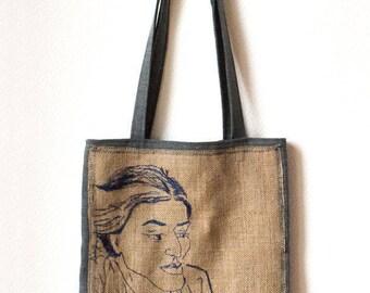 Laila, 32.5 x 37.5 cm, strap, hand embroidered bag: 77 cm