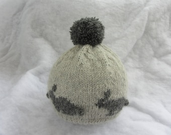 All natural alpaca baby hat with bunnies. Size 12-18 months.