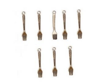 "Set of 50 ""forks"", dangle silver 25mm"