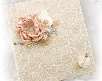 Wedding Lace Photo Album in Ivory Champagne Blush Elegant Vintage Style