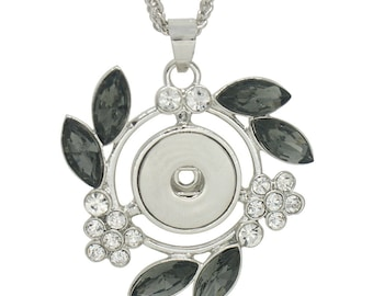 KC0313  Large Silver Pendant with Black Oval Crystals & Clear Crystal Flowers