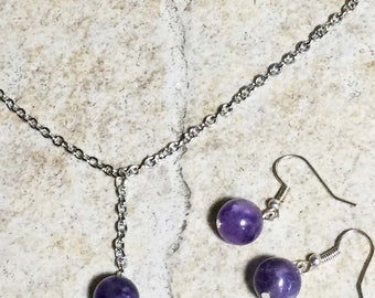 Amethyst Lariat Necklace and Earring Set