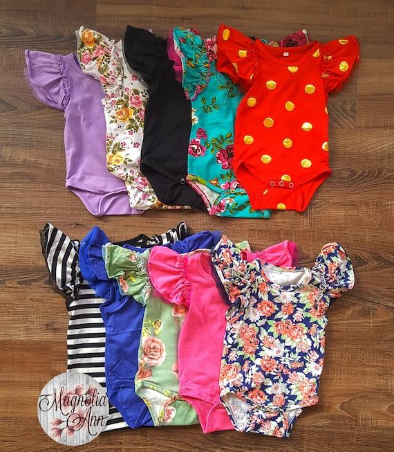 Baby Toddler Flutter Ruffle Sleeve Short Sleeve Leotard Bodysuit, Gymnastic Ballet Leotard Flutter Sleeves, Baby Bodysuit, Toddler Bodysuit