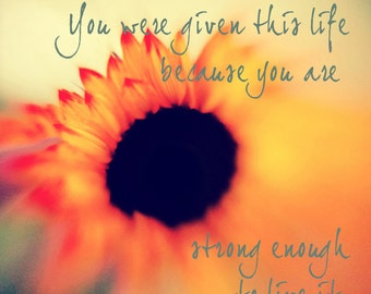 You Were Given This Life Because You Are Strong Enough To Live It Strength Quote Inspirational Photography