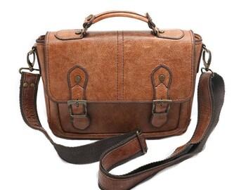 Mens Leather Bag, Brown Leather Messenger Bag, Small Messenger Bag, Leather Shoulder Bag, Leather iPad Bag, Man Briefcase, Gift for Him