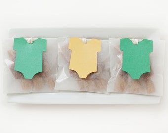Green and Yellow Onesie Baby Shower Favors (other colors avail) - Fleur de Sel Caramels in Eco Glassine Envelopes - 25 Guests