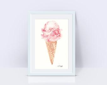 pink icecream painting, watercolor icecream cone, summer treat, icecream print, pink watercolor, icecream cone print, fine art print, giclee
