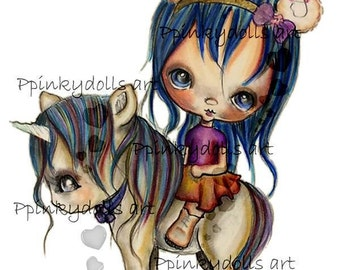 INSTANT DOWNLOAD Digital Digi Stamps..by Chrishanthi's art,Unicorn Leslie.''