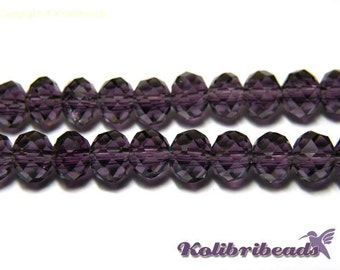 Faceted Glass Briolette Beads, Rondelle Beads 6mm - Purple