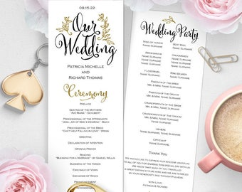 Wedding program template, Printable wedding program, wedding program download, wedding ceremony program, DIY, Download instantly, DS8