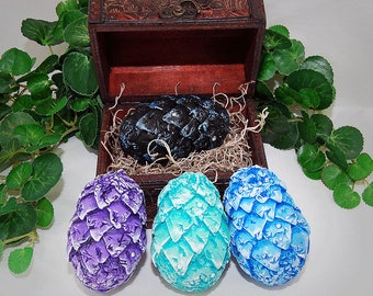 CHOOSE YOUR own COLORS Hand Sculpted Game Of Thrones Inspired, fantasy, Dragon Egg With Chest and Genuine Swavorski Crystals, Home Decor